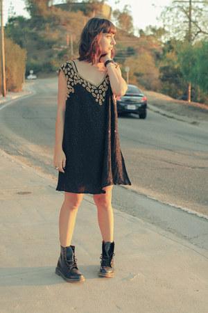 combat boots Dr Martens boots - sequins vintage telltale hearts dress