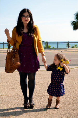 mustard Forever 21 blazer - feather print H&M dress - charcoal Forever 21 tights