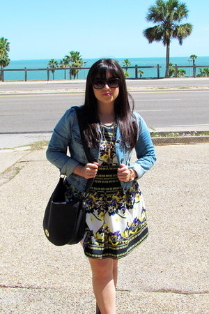 cowboy Forever 21 boots - Forever 21 dress - blue jean Forever 21 jacket