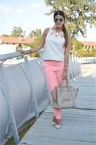 pink Topshop pants - beige Celine bag - teal carrera sunglasses