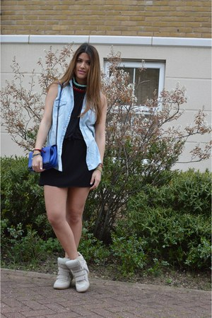 blue Zara bag - black ErmaRolla dress - beige Isabel Marant sneakers