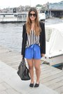 Black-zara-blazer-black-saint-laurent-paris-bag-blue-asos-shorts