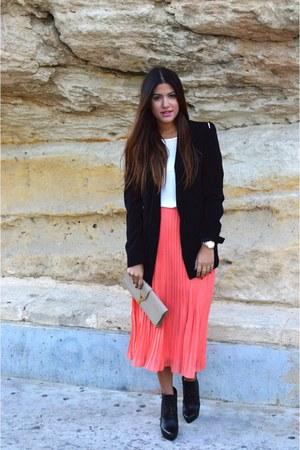 coral Missguided skirt - black Bottega Veneta boots - black Zara blazer