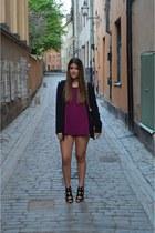 black Zara blazer - black Chanel bag - gray Topshop shorts - black Zara heels