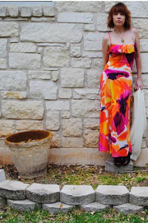 floral maxi Charlotte Russe dress - ivory diy shawl scarf - Jessica Simpson heel