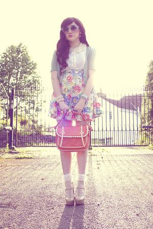 sky blue DIY skirt - salmon OASAP bag - off white DIY socks
