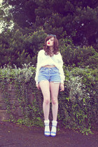 periwinkle pastel lilac Faith heels - sky blue denim Urban Outfitters shorts