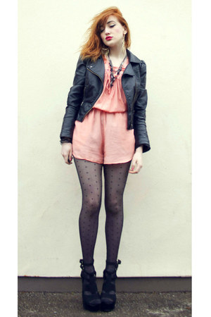 black leather jacket H&amp;M jacket - black spotty tights select tights