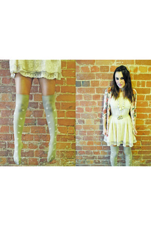 beige Camden Market dress - silver Topshop socks - orange Forever 21 cardigan