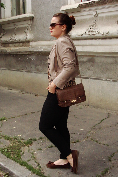 brown Orsay bag - tan Orsay jacket - brown Stradivarius sunglasses