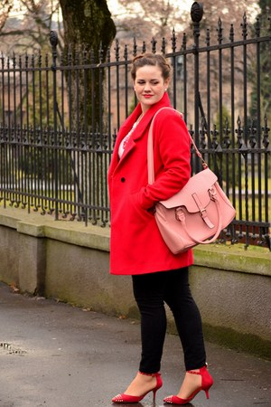 red PERSUNMALL coat - bubble gum Orsay bag - red Zara heels - black H&M pants