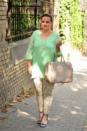 aquamarine Sheinside dress - neutral tote H&M bag