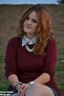 Black-leather-skirt-maroon-aggressive-sweater-white-shirt