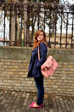 navy Zara jacket - bubble gum Orsay bag - hot pink Zara loafers