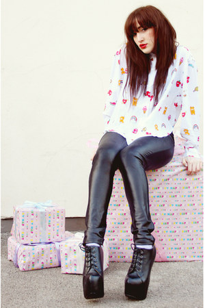 black Koi Couture boots - white Lazy Oaf shirt - black AX Paris pants