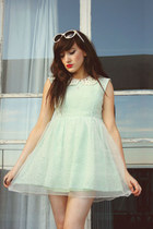 white Urban Outfitters sunglasses - aquamarine beckybwardrobe dress