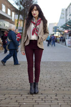 ruby red vintage scarf - black new look boots
