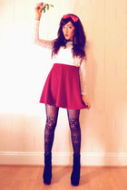 black OASAP boots - white I WEAR SIN top - red new look skirt