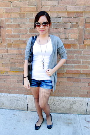 gray Forever 21 cardigan - white top - blue shorts - black Forever 21 stockings