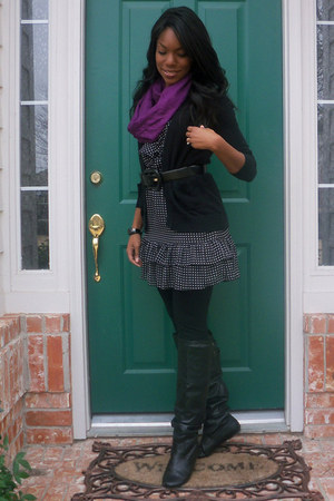 black Charlotte Russe boots - black Nordstrom dress - black Target tights