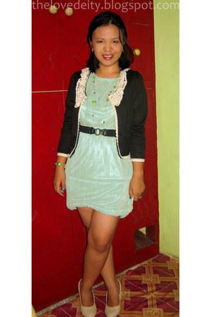 lime green laced Embellish dress - black laced Embellish blazer