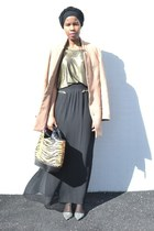 olive green Monki top - tan H&M coat - bronze Zara bag - silver Zara sandals
