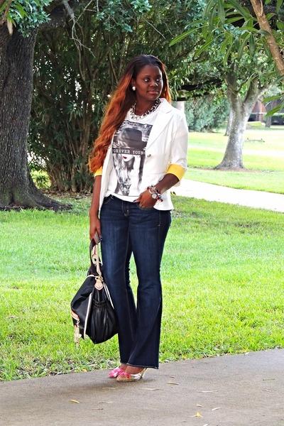 white Forever 21 shirt - navy American Eagle jeans - white Oasapcom blazer