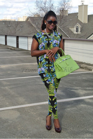 floral Forever21 leggings - Steve Madden shoes - birkin Hermes bag