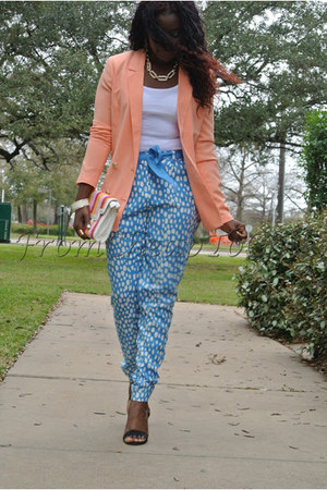 light orange Forever21 blazer - light blue Forever21 pants - white Zara blouse