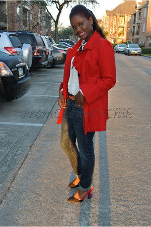 red Old Navy coat - red Zara shoes - navy American Eagle jeans