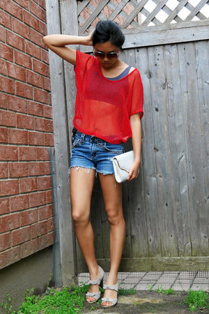 clutch vintage purse - denim shorts DIY shorts shorts - suede Michael Kors heels