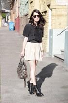 vintage boots - Rebecca Minkoff purse - Karen Walker sunglasses - Theory blouse