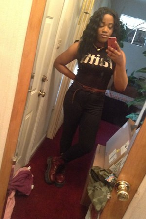 black faith crop top Forever 21 top - crimson platforms Dr Martens boots