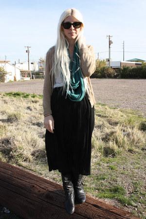 Nordstroms Rack skirt - Nordstrom boots - Levis scarf - banana republic cardigan