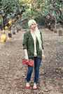 Blue-madewell-jeans-army-green-fire-jacket-brick-red-suede-handmade-bag