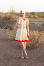 Cream-ruche-dress-gold-kate-spade-bracelet-burnt-orange-kate-spade-bracelet