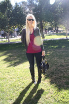 magenta Gap blouse - dark gray Cole Haan boots - blue Levis jeans