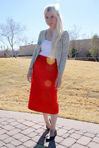 white Jcrew cardigan - white Frenchi t-shirt - red vintage skirt - black ruby an