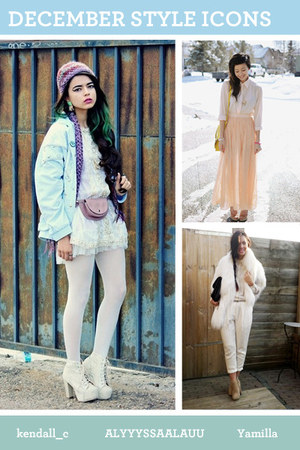 white accessories - light blue jacket - peach skirt