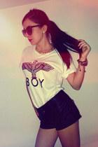 Boy London t-shirt - leather Zara shorts - H&M sunglasses