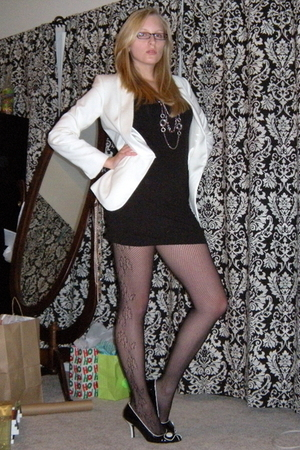white White House Black Market blazer - black H&M dress - black Macys tights - b