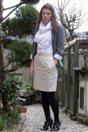 Hanjiro Tokyo blazer - Monki t-shirt - H&M skirt - stockings - H&M shoes - scarf