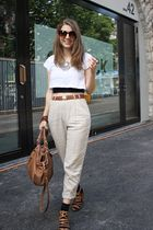 beige Mango pants - brown Zara shoes - silver Ebay necklace - white from austral
