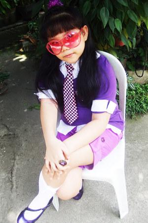 purple Knitworks top - amethyst satin shorts - hot pink oversized sunglasses