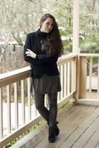 gray jewelled tights - charcoal gray Mango dress - black wool vintage jacket