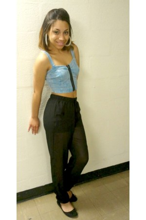 light blue denim crop top - black ballet flats - black sheer harem pants