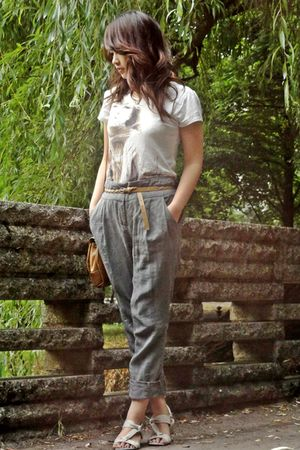 green Vero Moda pants - white Hilfiger Denim shoes - brown vintage - brown Orsay