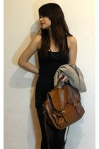 brown H&M bag - brown vintage blazer - black vero moda tank top - black necklace