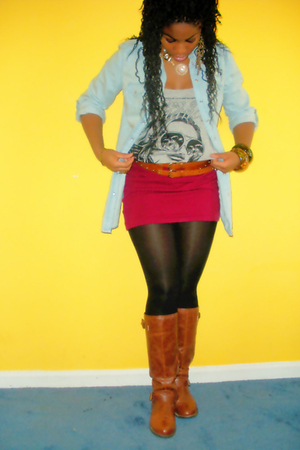 brown thrifted belt - gold f21 accessories - black H&M tights - red f21 skirt -
