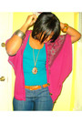 Blue-f21-top-purple-cardigan-brown-thrifted-belt-gold-f21-necklace